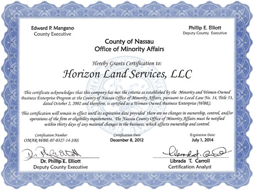 M/WOB and M/WBE Certifications & Government Agencies | Horizon Land ...